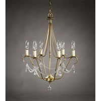 Signature 6 Light 19 inch Antique Brass Chandelier Ceiling Light in With Crystals